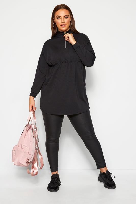 LIMITED COLLECTION Black Zip Neck Longline Sweatshirt