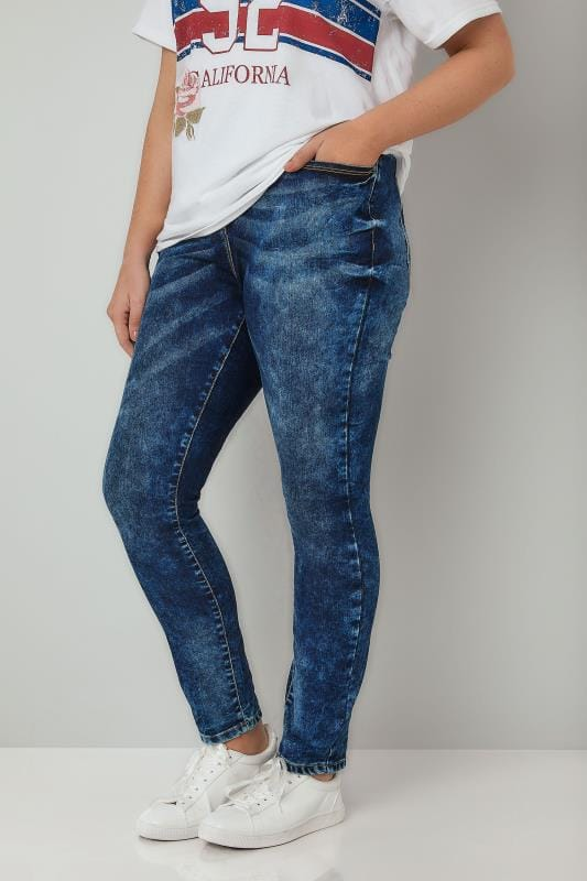 LIMITED COLLECTION Blue Acid Wash Skinny Jeans, Plus size 16 ...