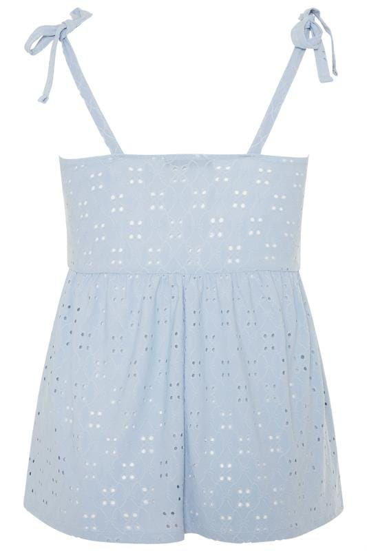 LIMITED COLLECTION Blue Broderie Anglaise Smock Top
