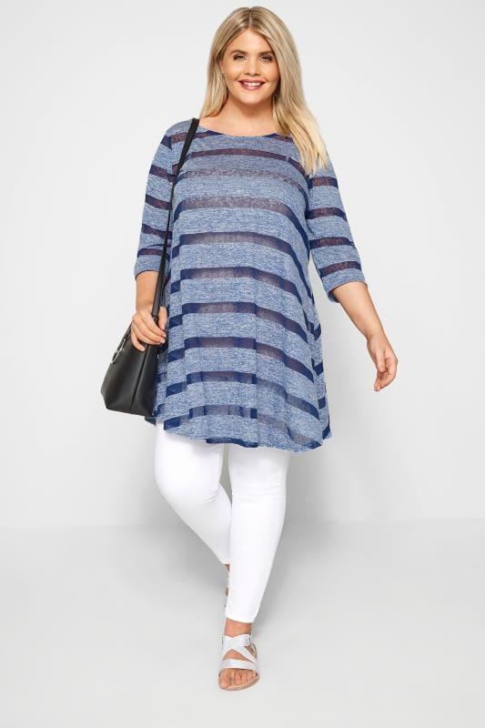 Blue Burnout Striped Tunic Top