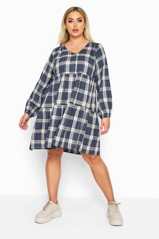 Plus Size Casual Dresses LIMITED COLLECTION Blue Check Tiered Smock Dress