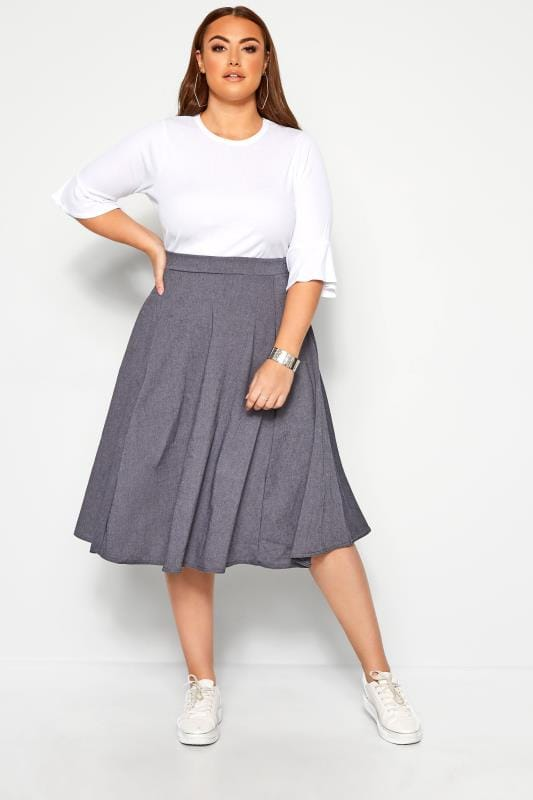 Plus Size Denim Skirts LIMITED COLLECTION Blue Denim Look Midi Skirt