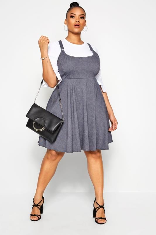 Plus Size Pinafore Dresses LIMITED COLLECTION Blue Denim Look Pinafore Dress