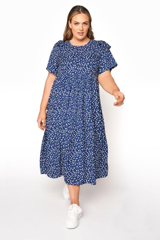 LIMITED COLLECTION Blue Ditsy Frill Shoulder Dress