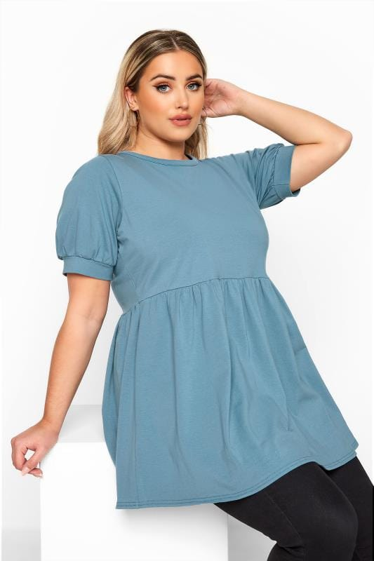Plus Size Day Tops LIMITED COLLECTION Blue Cotton Smock Top
