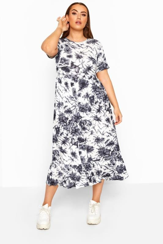 Plus Size Maxi Dresses LIMITED COLLECTION Blue Tie Dye Tiered Maxi Smock Dress