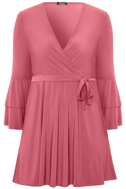 LIMITED COLLECTION Blush Pink Frill Sleeve Wrap Dress