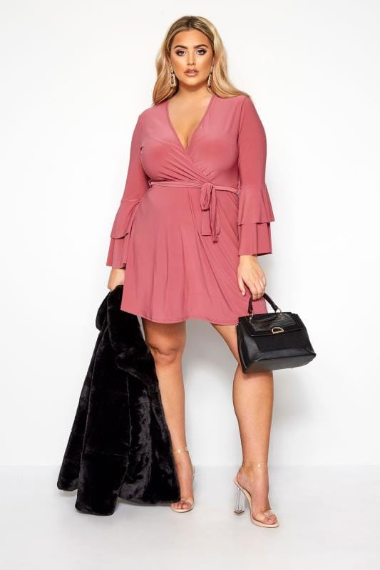 Plus Size Going Out Dresses LIMITED COLLECTION Blush Pink Frill Sleeve Wrap Dress