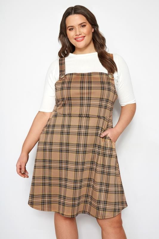 Plus Size Pinafore Dresses Brown Check Pinafore Dress