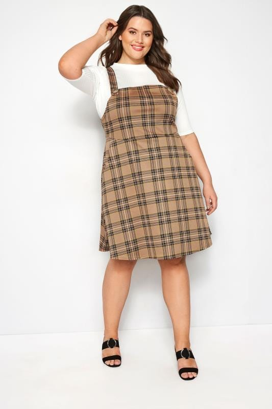 Brown Check Pinafore Dress
