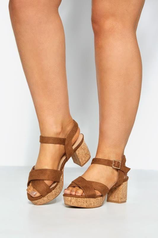 LIMITED COLLECTION Brown Cork Heeled Platforms In Extra Wide Fit