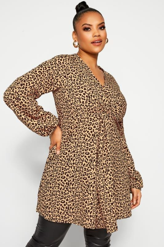 Plus Size Going Out Dresses LIMITED COLLECTION Brown Leopard Print Knot Front Dress