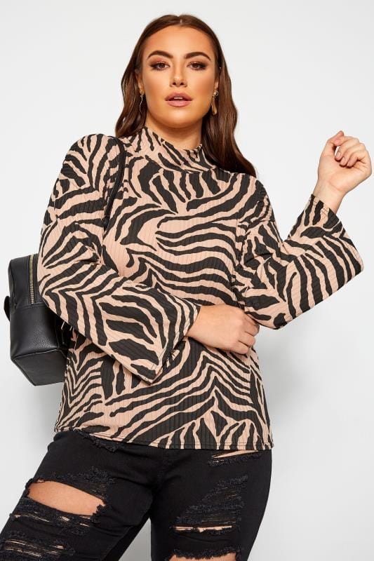 Plus Size Jersey Tops LIMITED COLLECTION Brown Zebra Print Wide Sleeve Top