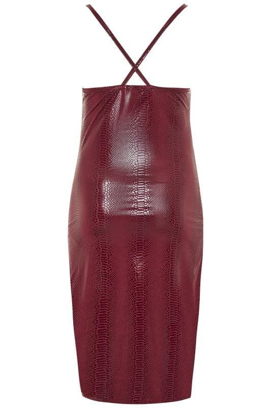 LIMITED COLLECTION Burgundy PU Snake Print Midi Dress