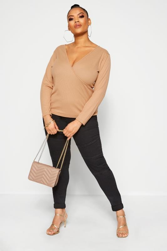 Plus-Größen Wrap Tops LIMITED COLLECTION Camel Ribbed Wrap Top