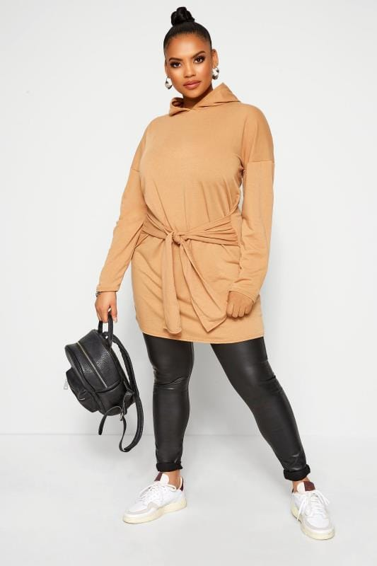 Plus Size Hoodies & Jackets LIMITED COLLECTION Camel Tie Waist Hoodie Dress