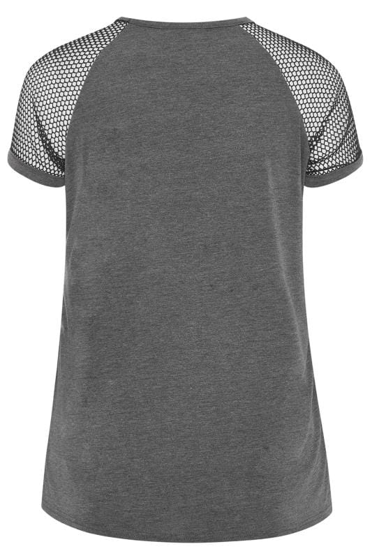 LIMITED COLLECTION Charcoal Grey Fishnet Raglan Sleeve Top