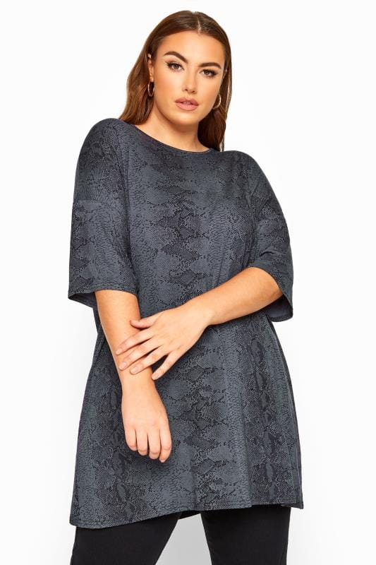 Plus Size Day Tops LIMITED COLLECTION Charcoal Grey Snake Print Oversized Top