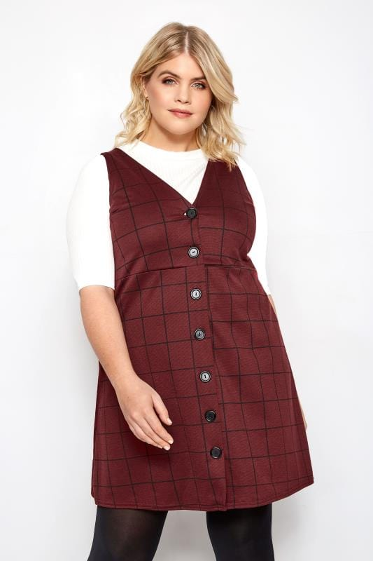 Dark Red Check Buttoned Pinafore Dress