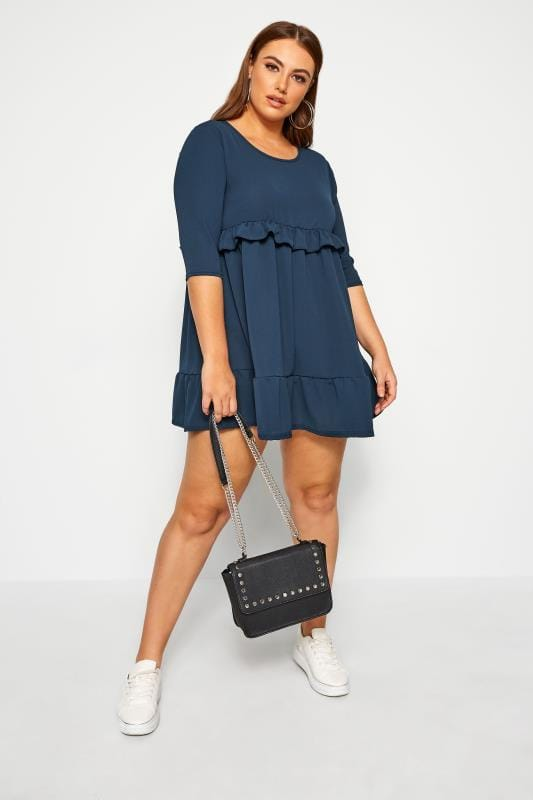Plus Size Chiffon Dresses LIMITED COLLECTION Denim Blue Double Layer Smock Dress