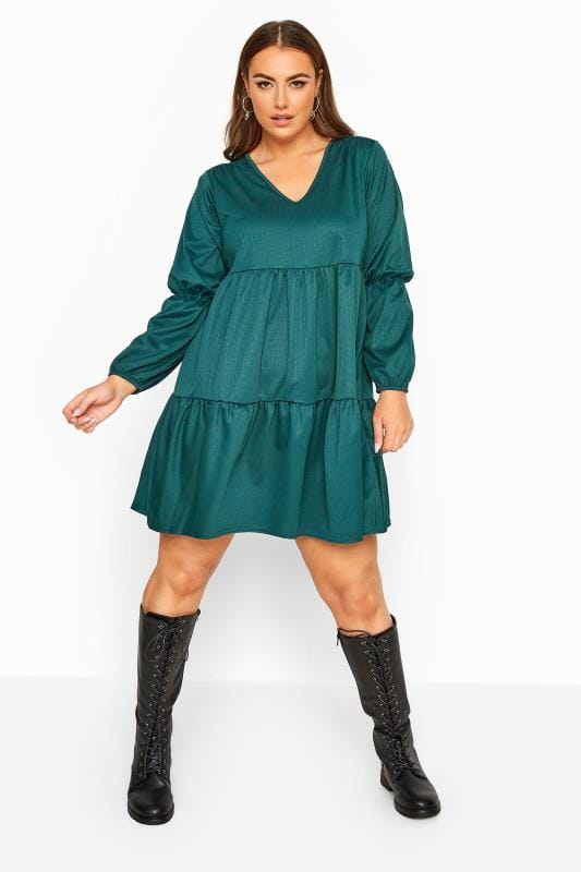 Plus Size Black Dresses LIMITED COLLECTION Forest Green Tiered Smock Long Sleeve Dress