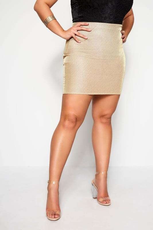 Plus Size Pencil Skirts LIMITED COLLECTION Gold Glitter Mini Skirt