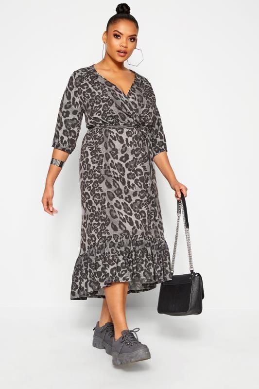 Plus Size Wrap Dresses LIMITED COLLECTION Grey Animal Print Frill Smock Midi Dress