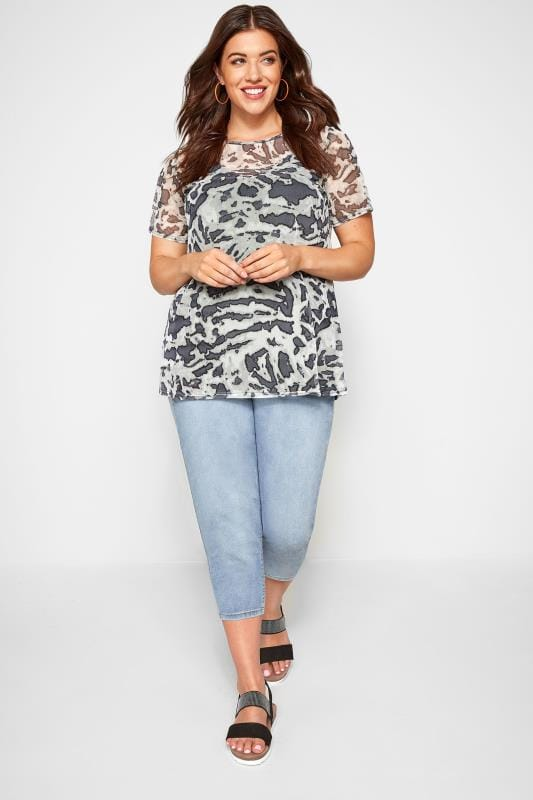 Plus Size Day Tops LIMITED COLLECTION Grey Animal Textured Mesh Top