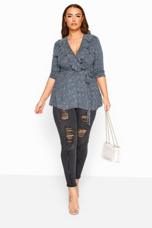 LIMITED COLLECTION Grey Ditsy Daisy Print Wrap Top