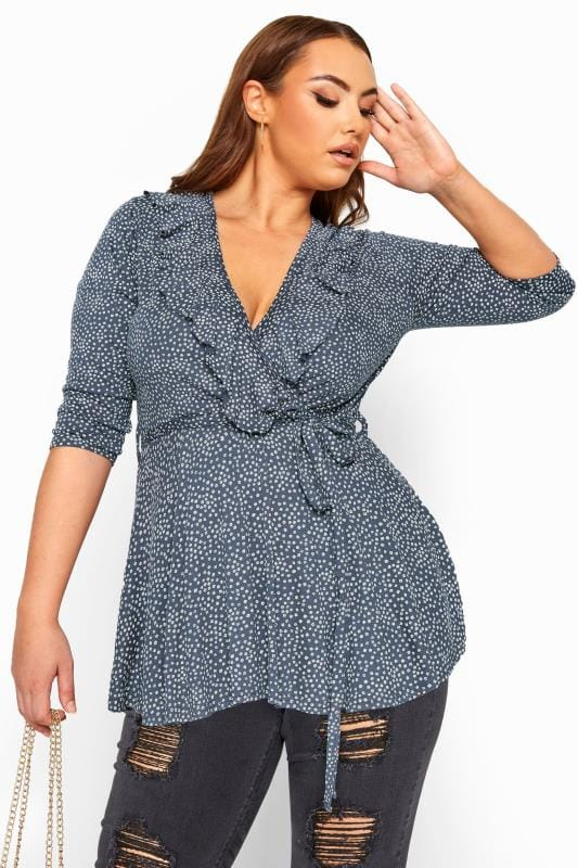 Plus Size Wrap Tops LIMITED COLLECTION Grey Ditsy Daisy Print Wrap Top