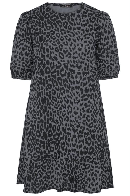 LIMITED COLLECTION Grey Leopard Print Smock Dress