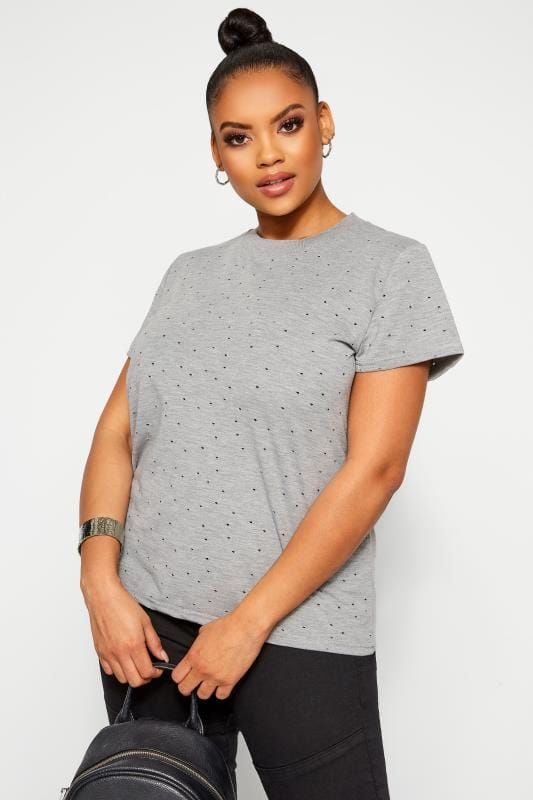 Plus Size Day Tops LIMITED COLLECTION Grey Marl Distressed Top