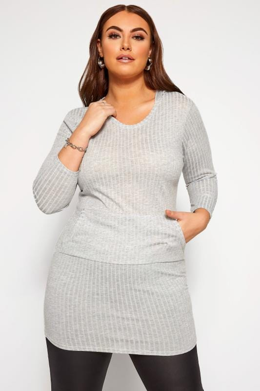 Plus Size Casual Dresses LIMITED COLLECTION Grey Marl Ribbed Hoodie Dress