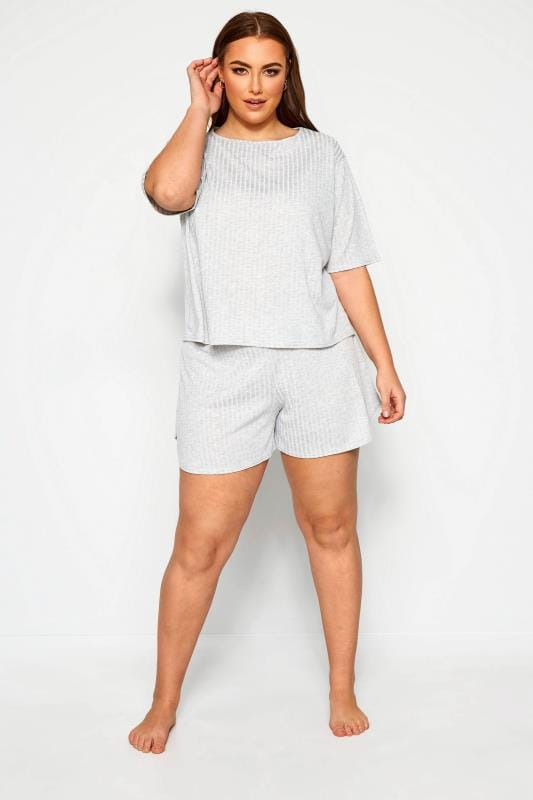 Plus Size Loungewear Grande Taille LIMITED COLLECTION Grey Marl Short & T-Shirt Lounge Set