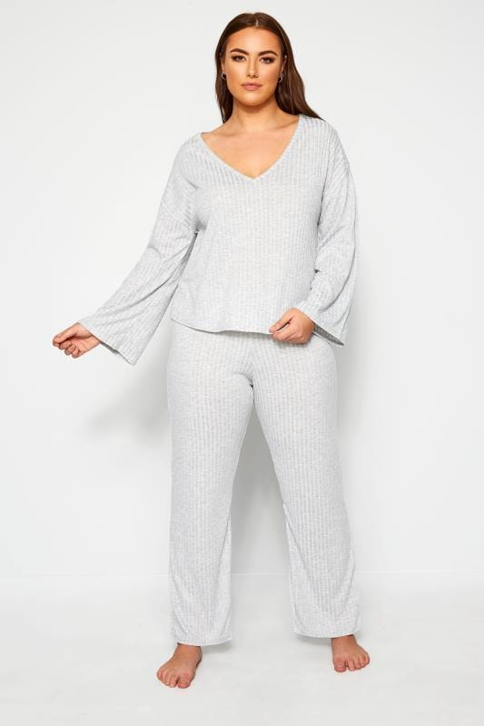 Plus Size Loungewear LIMITED COLLECTION Grey Marl Trouser & T-Shirt Lounge Set