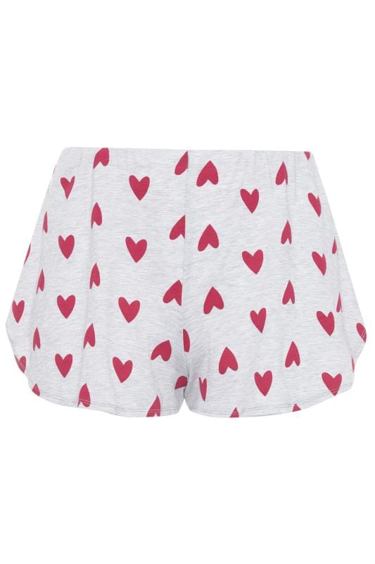 LIMITED COLLECTION Grey & Pink Heart Lounge Shorts