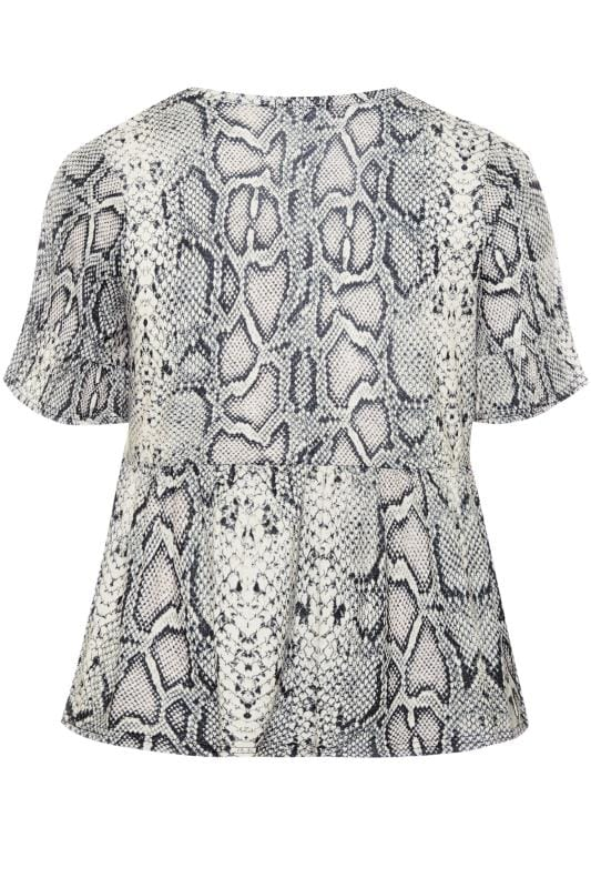 LIMITED COLLECTION Grey & Pink Snake Print Smock Top