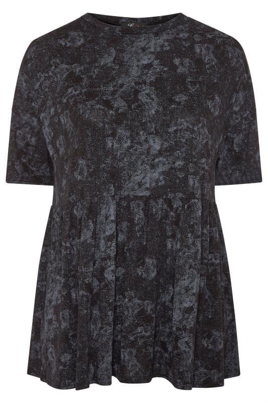 LIMITED COLLECTION Grey Tie Dye Drop Shoulder Peplum Top