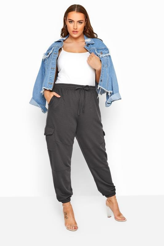 Plus Size Joggers LIMITED COLLECTION Slate Grey Utility Joggers