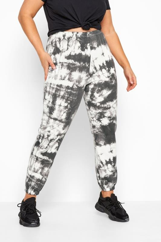 LIMITED COLLECTION Grey & White Tie Dye Joggers