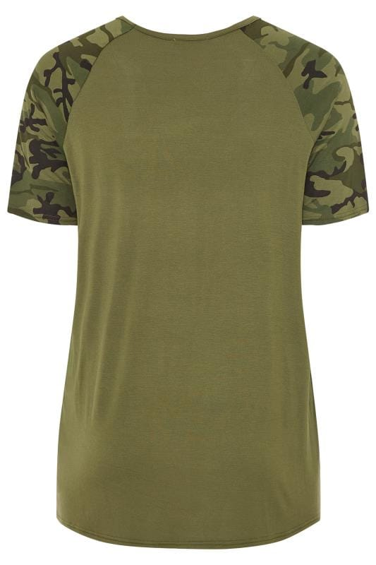 LIMITED COLLECTION Khaki Camo Print Raglan Sleeve Top