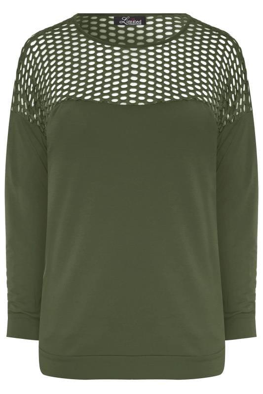 LIMITED COLLECTION Khaki Fishnet Panel Sweatshirt
