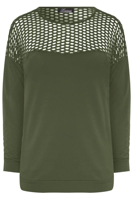 Plus Size Sweatshirts LIMITED COLLECTION Khaki Fishnet Panel Sweatshirt