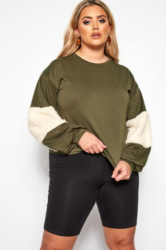 Plus Size Sweatshirts & Hoodies LIMITED COLLECTION Khaki Green Panelled Sleeve Jumper