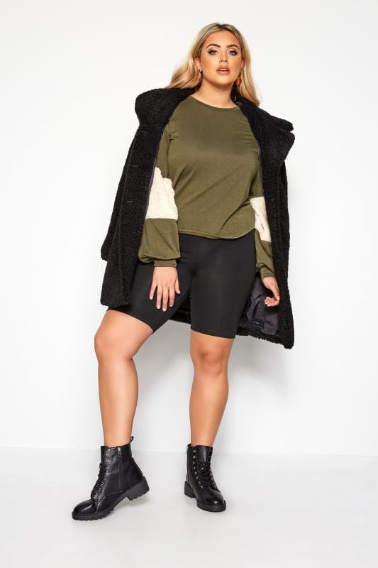 LIMITED COLLECTION Khaki Green Panelled Sleeve Jumper