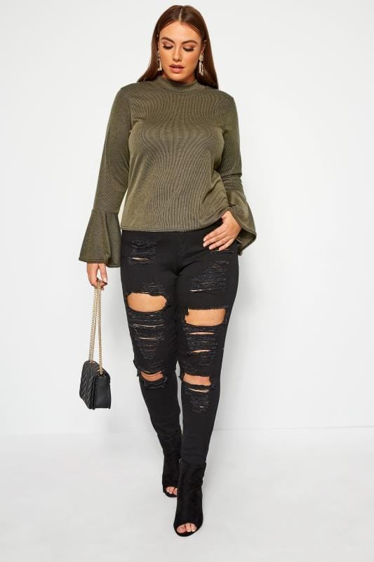 Plus Size Bags & Purses LIMITED COLLECTION Khaki Ribbed Flare Long Sleeve Top