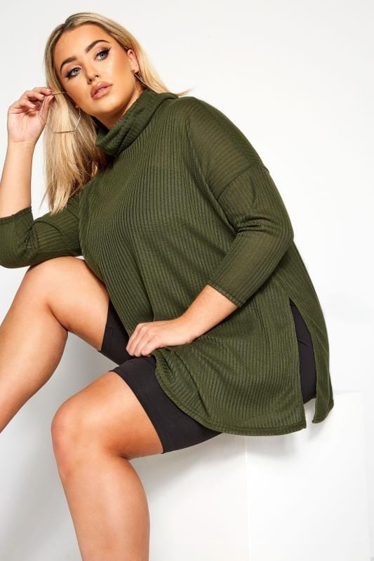 Plus Size Sweaters LIMITED COLLECTION Khaki Ribbed Roll Neck Jumper