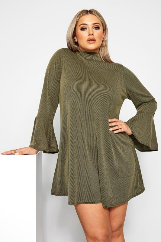 Plus Size Swing Dresses LIMITED COLLECTION Khaki Ribbed Swing Dress