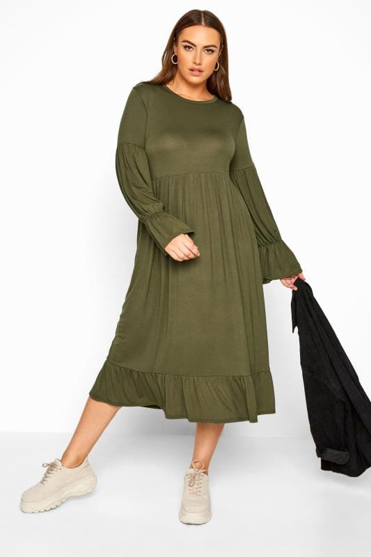 Plus Size Sleeved Dresses LIMITED COLLECTION Khaki Smock Tiered Sleeve Midi Dress
