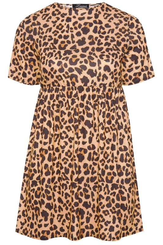 LIMITED COLLECTION Brown Leopard Print Jersey Smock Dress